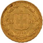 Switzerland / Twenty Francs 1892 - reverse photo