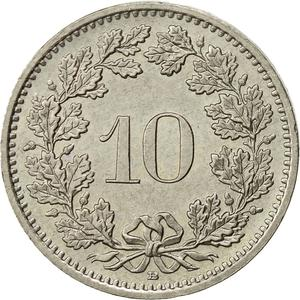 Switzerland / Ten Centimes (Rappen) 1991 - reverse photo