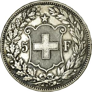 Switzerland / Five Francs 1908 - reverse photo