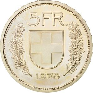 Switzerland / Five Francs 1978 - reverse photo