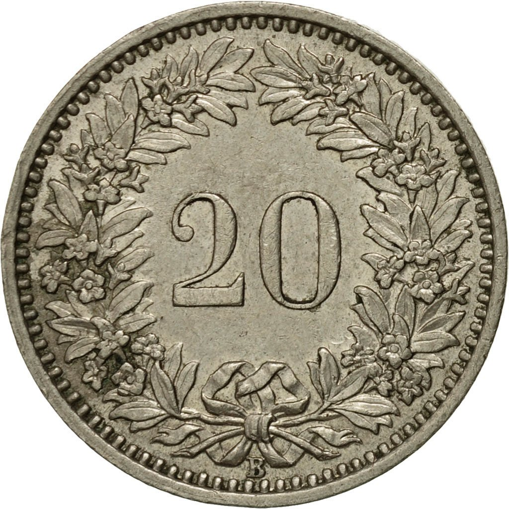 Twenty Centimes (Rappen) 1956: Photo Coin, Switzerland, 20 Rappen 1956