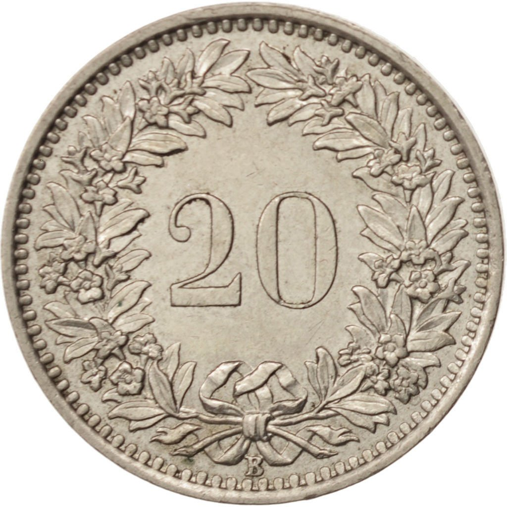 Twenty Centimes (Rappen) 1955: Photo Coin, Switzerland, 20 Rappen 1955