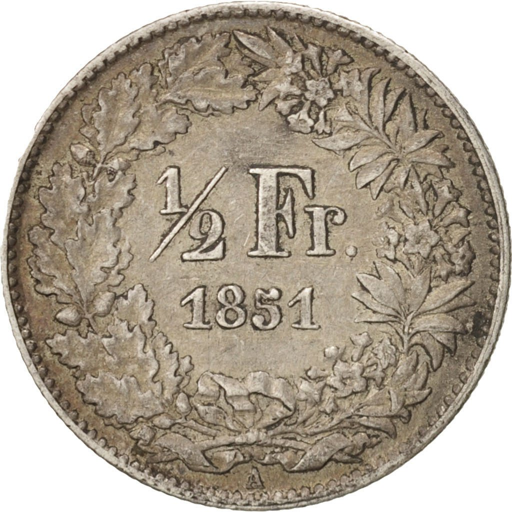 Half Franc, Seated Helvetia: Photo Coin, Switzerland, 1/2 Franc, 1851