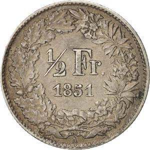 Switzerland / Half Franc, Seated Helvetia - reverse photo