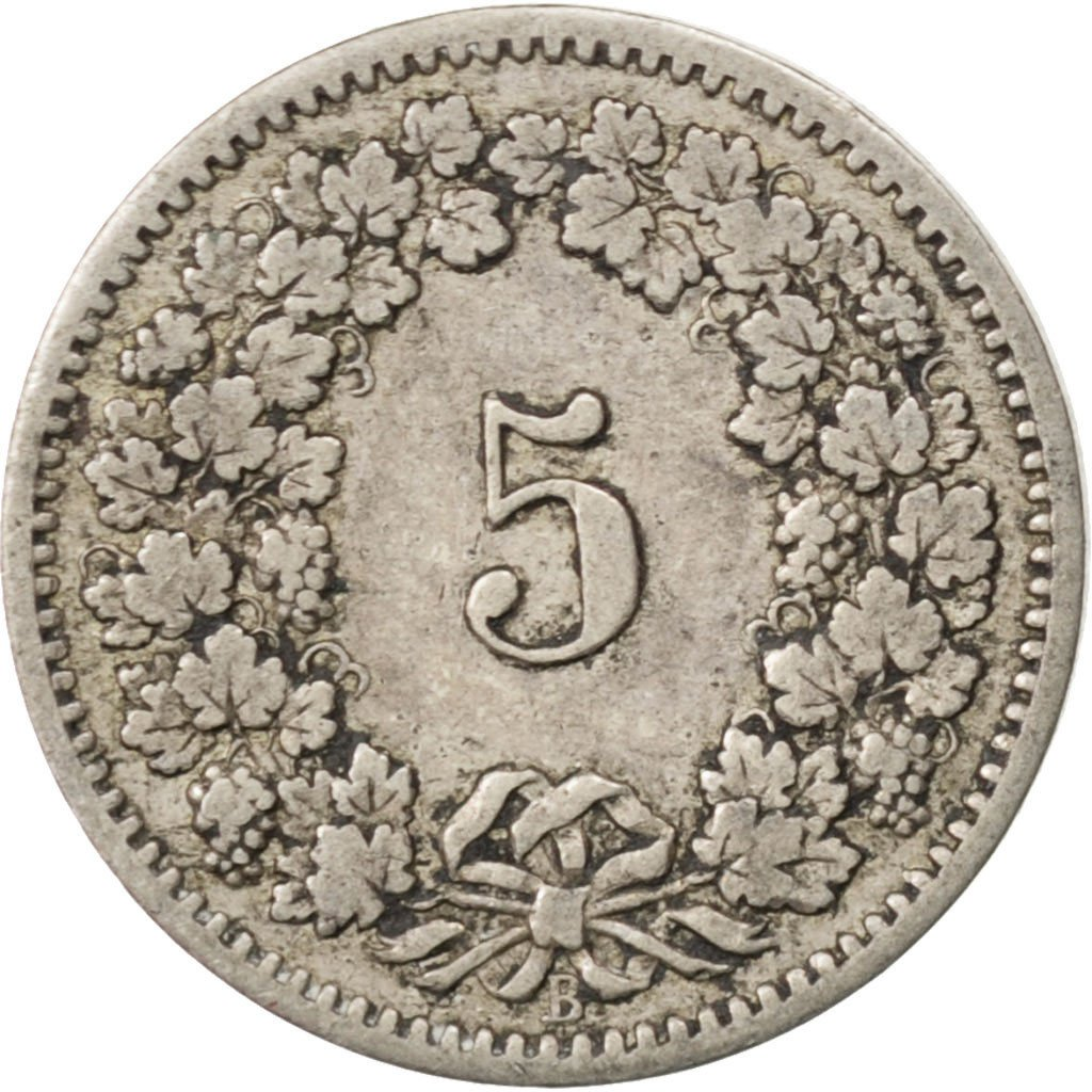Five Centimes (Rappen) 1885: Photo Coin, Switzerland, 5 Rappen 1885