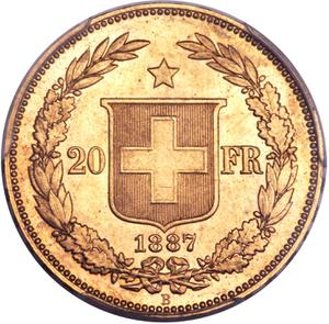 Switzerland / Twenty Francs 1887 - reverse photo