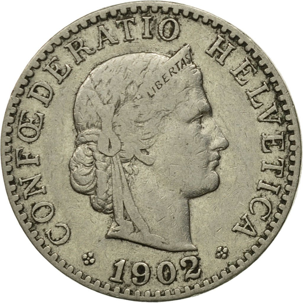 Twenty Centimes (Rappen) 1902: Photo Coin, Switzerland, 20 Rappen 1902