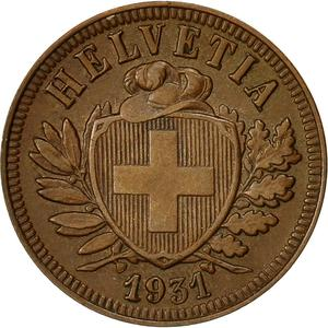 Switzerland / Two Centimes (Rappen) 1931 - obverse photo