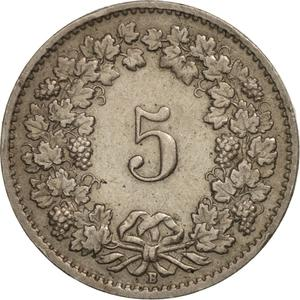 Switzerland / Five Centimes (Rappen) 1952 - reverse photo