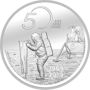 Switzerland / Twenty Francs 2019 Moon Landing - reverse photo