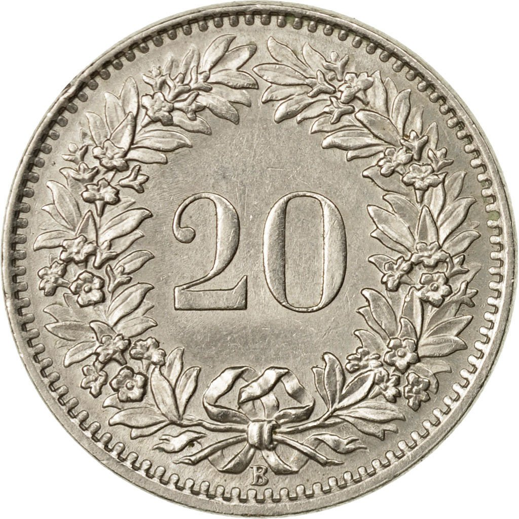 Twenty Centimes (Rappen) 1965: Photo Coin, Switzerland, 20 Rappen 1965
