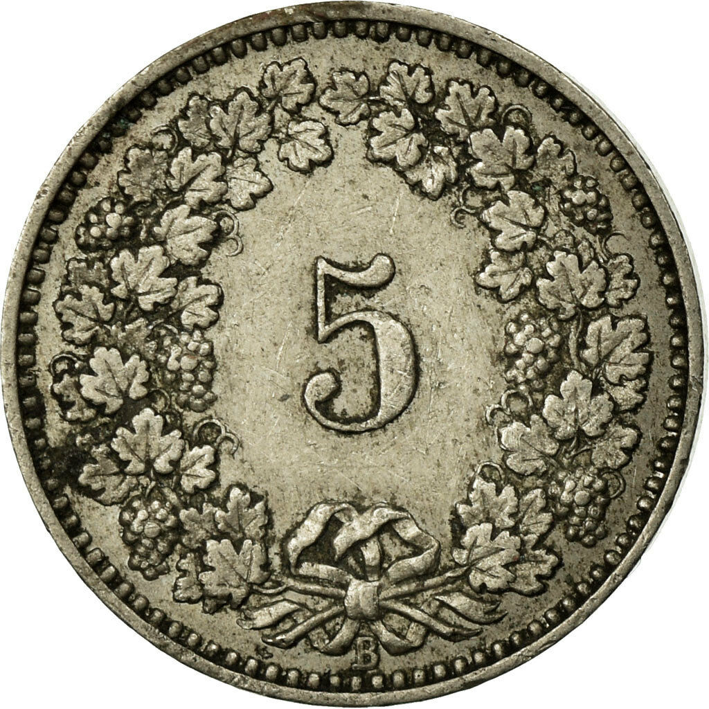 Five Centimes (Rappen) 1892: Photo Coin, Switzerland, 5 Rappen, 1891