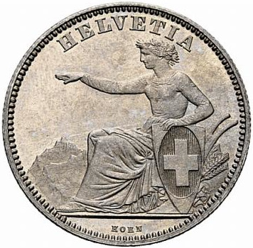 Two Francs: Photo Switzerland 1857-B 2 francs