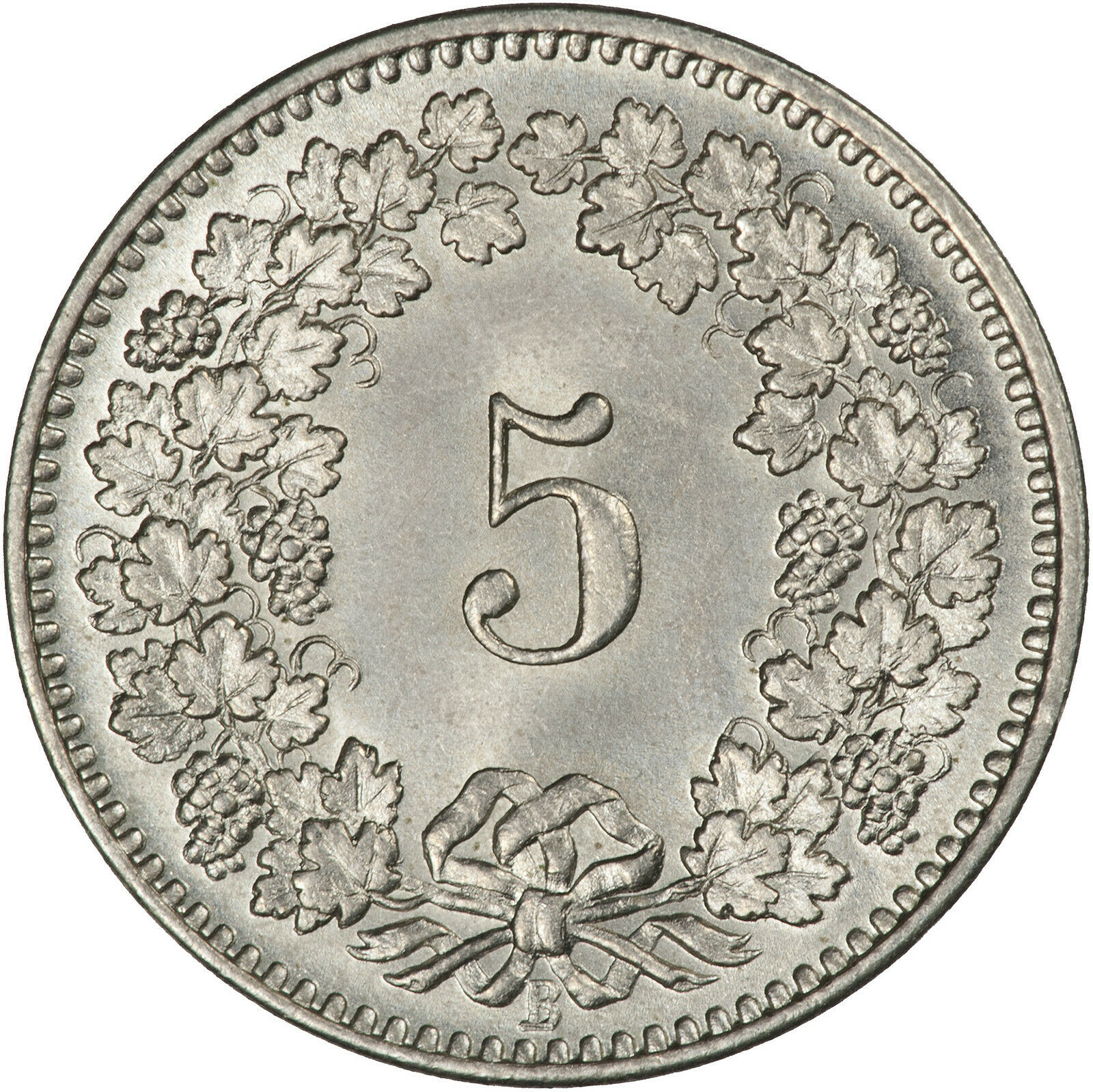 Five Centimes (Rappen) 1893: Photo Coin, Switzerland, 5 Rappen 1893