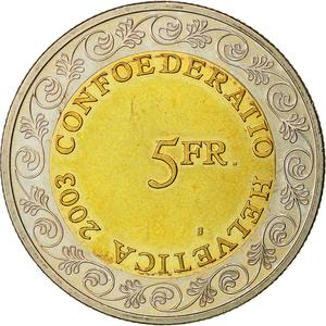 Switzerland / Five Francs 2003 Chalandamarz - reverse photo