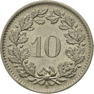 Switzerland / Ten Centimes (Rappen) 1968 - reverse photo