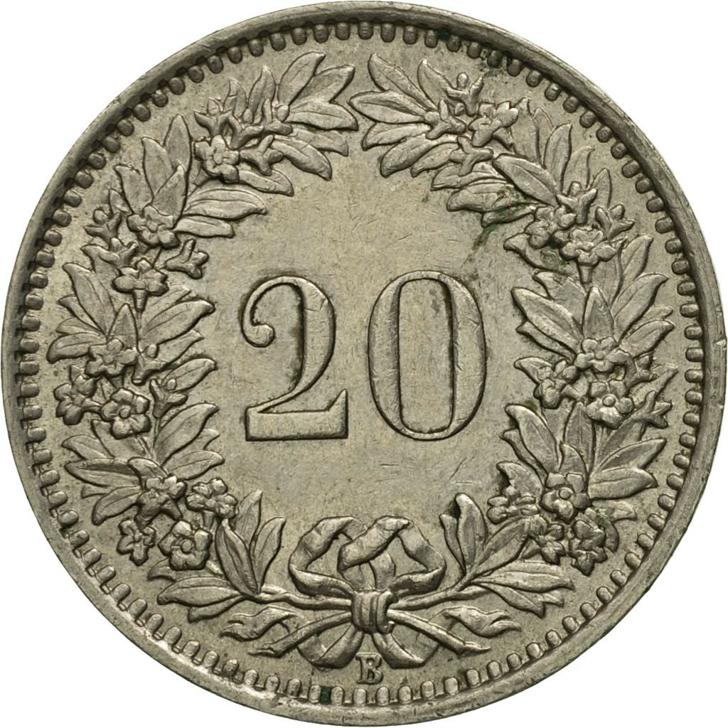 Twenty Centimes (Rappen) 1944: Photo Coin, Switzerland, 20 Rappen 1944