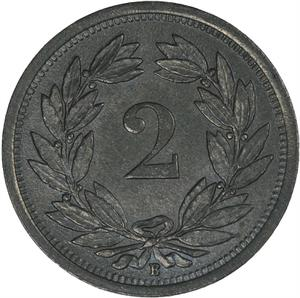 Switzerland / Two Centimes (Rappen) 1945 - reverse photo