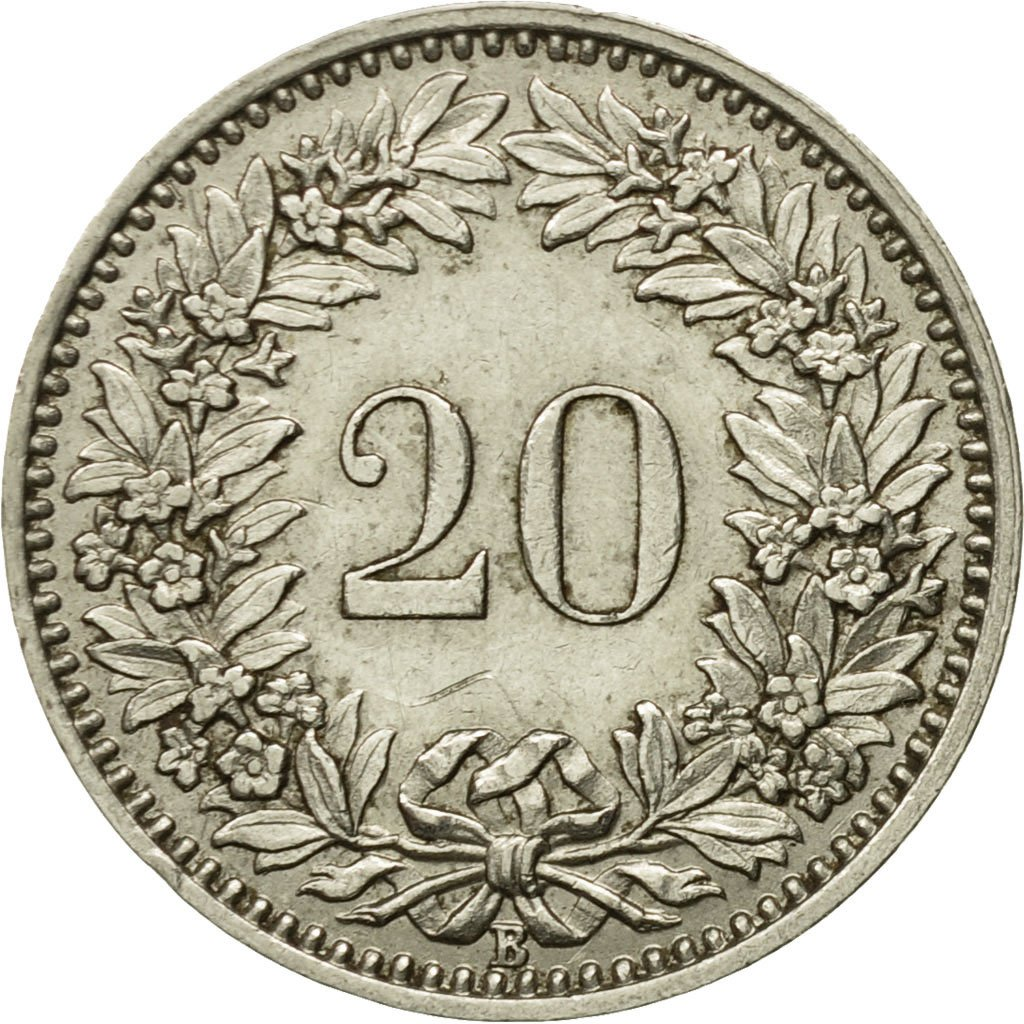 Twenty Centimes (Rappen) 1933: Photo Coin, Switzerland, 20 Rappen 1933