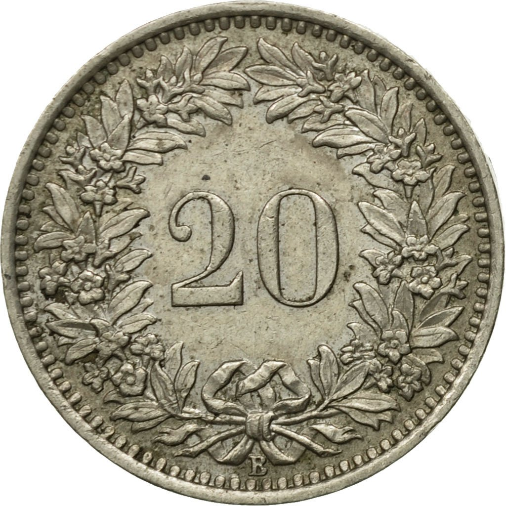 Twenty Centimes (Rappen) 1954: Photo Coin, Switzerland, 20 Rappen 1954