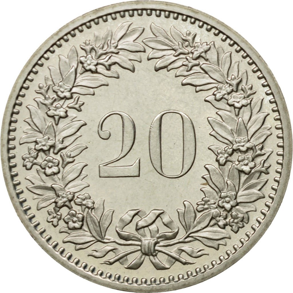 Twenty Centimes (Rappen) 1980: Photo Coin, Switzerland, 20 Rappen 1980