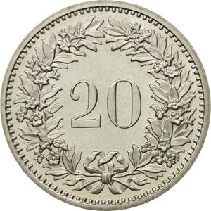 Switzerland / Twenty Centimes (Rappen) 1980 - reverse photo