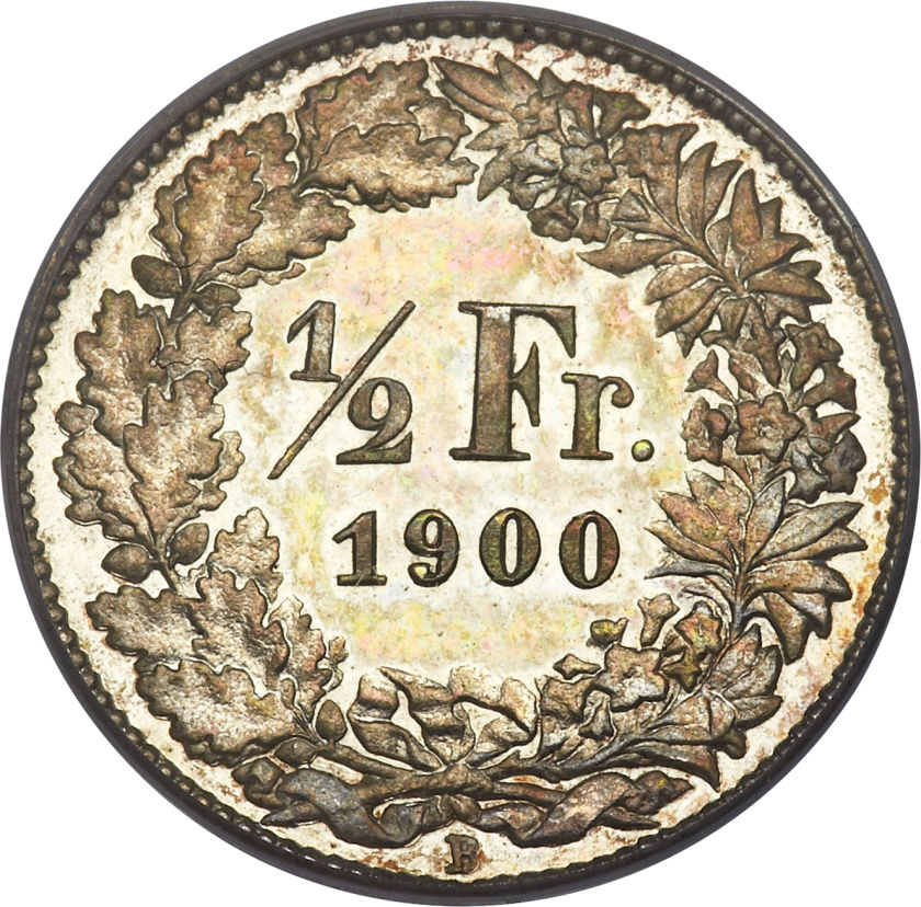 Half Franc 1900: Photo Switzerland 1900-B 1/2 franc