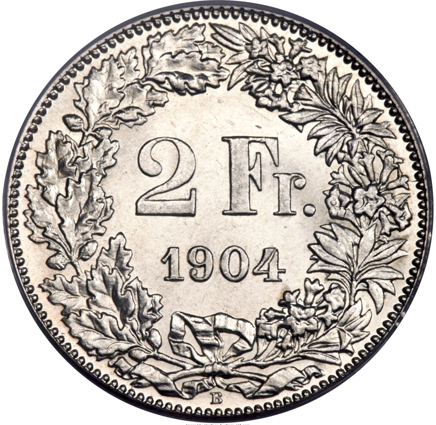 Two Francs, Silver: Photo Switzerland 1904-B 2 francs