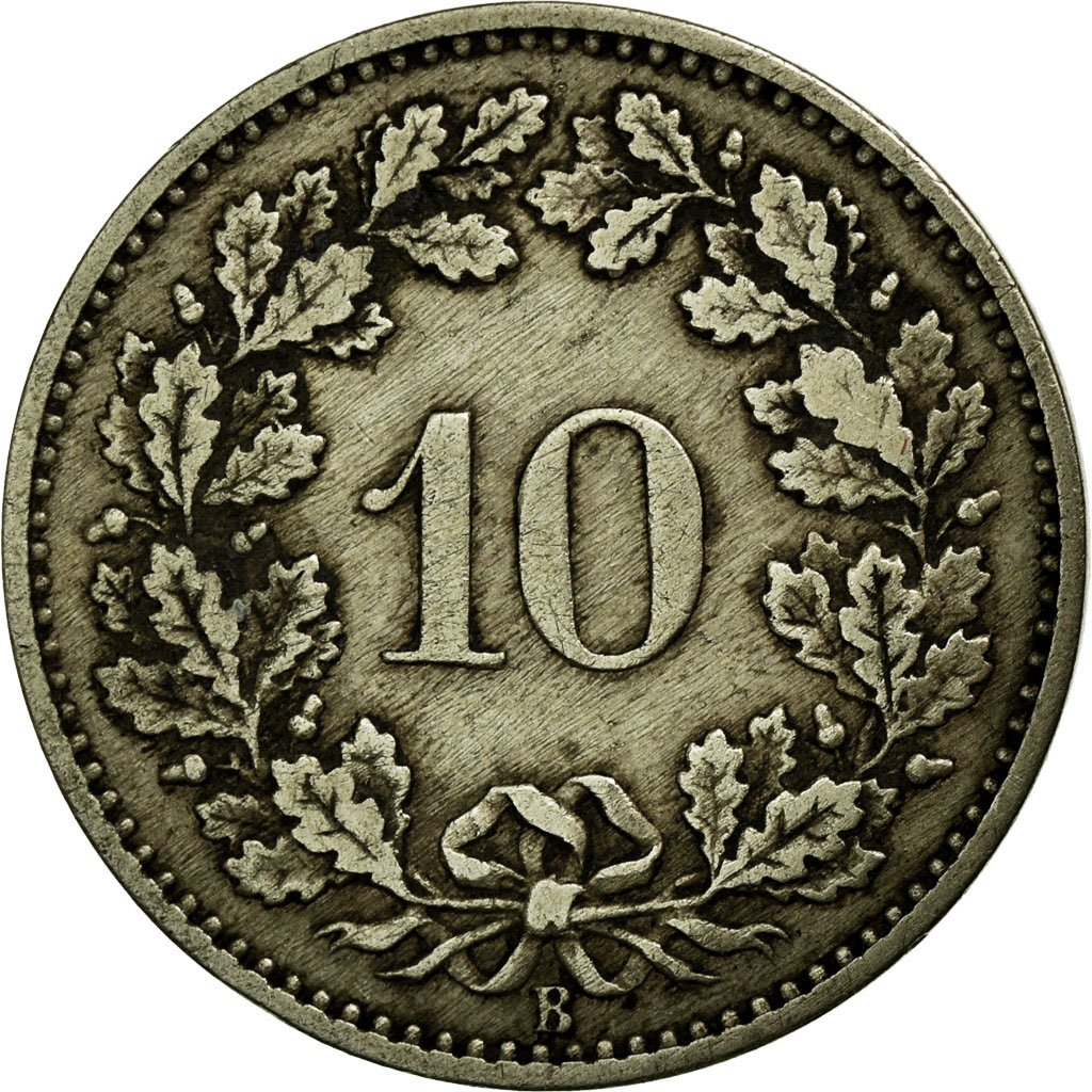 Ten Centimes (Rappen) 1876: Photo Coin, Switzerland, 10 Rappen 1876