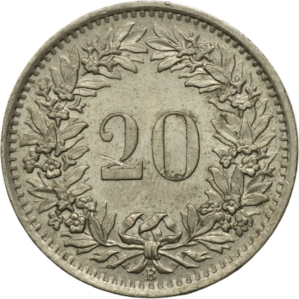 Twenty Centimes (Rappen) 1969: Photo Coin, Switzerland, 20 Rappen 1969