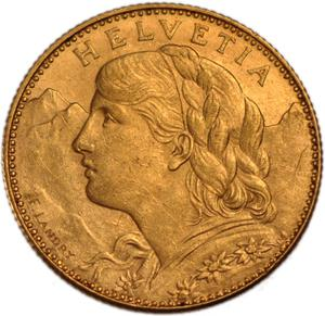 Switzerland / Ten Francs, Gold (Vreneli) - obverse photo