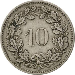 Switzerland / Ten Centimes (Rappen) 1883 - reverse photo