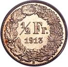 Switzerland / Half Franc 1913 / Specimen - reverse photo