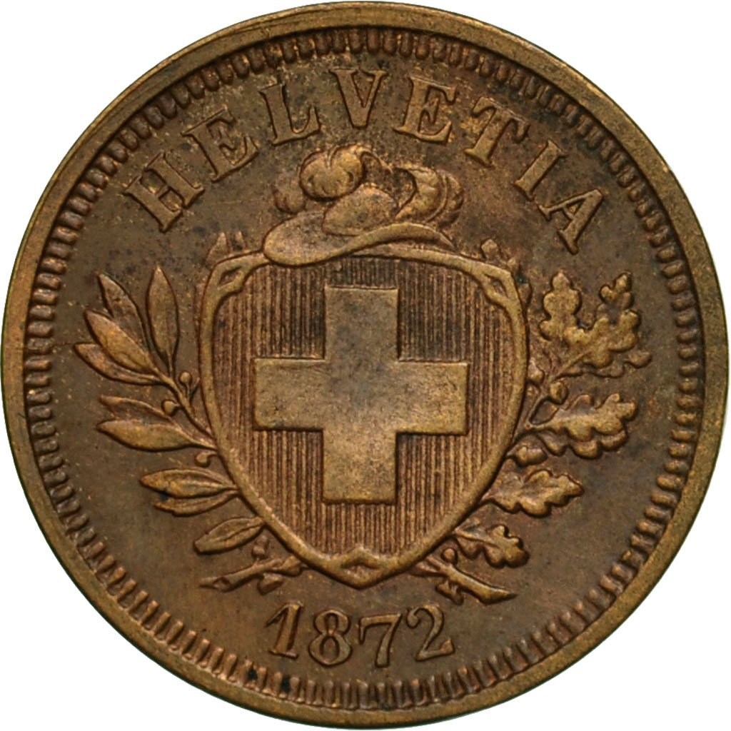 One Centime (Rappen) 1872: Photo Coin, Switzerland, Rappen 1872