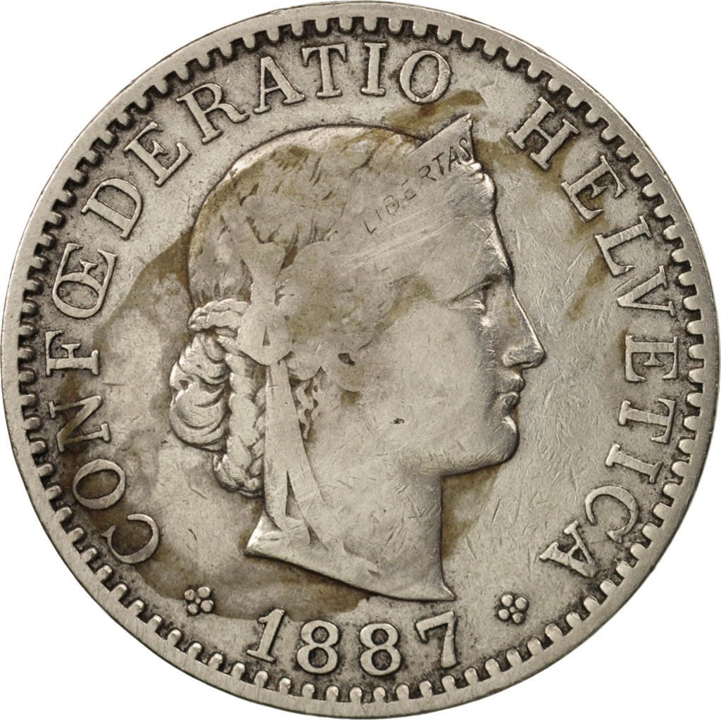 Twenty Centimes (Rappen) 1887: Photo Coin, Switzerland, 20 Rappen 1887