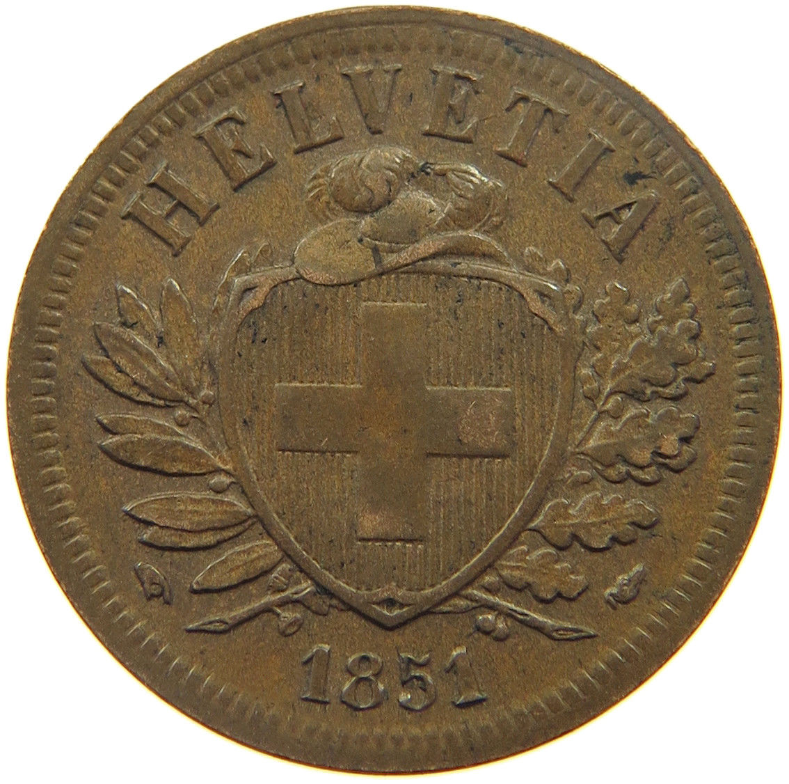 Two Centimes (Rappen) 1851: Photo Switzerland 2 Rappen 1851