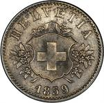 Switzerland / Twenty Centimes (Rappen) 1859 - obverse photo