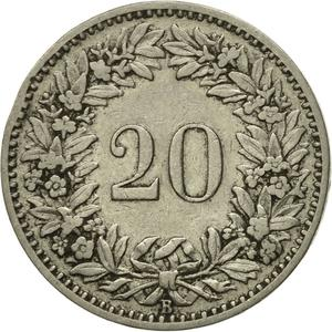 Switzerland / Twenty Centimes (Rappen) 1902 - reverse photo
