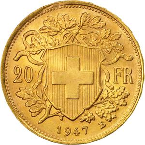 Switzerland / Twenty Francs, Gold - reverse photo