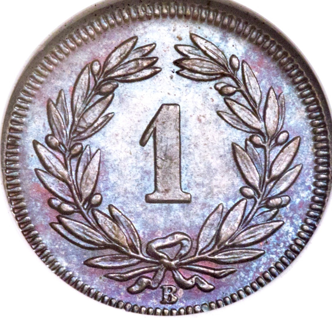 One Centime (Rappen) 1864: Photo Switzerland 1864-B rappen