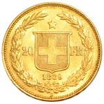 Switzerland / Twenty Francs 1889 - reverse photo