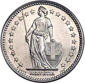 Switzerland / Two Francs, Silver - obverse photo