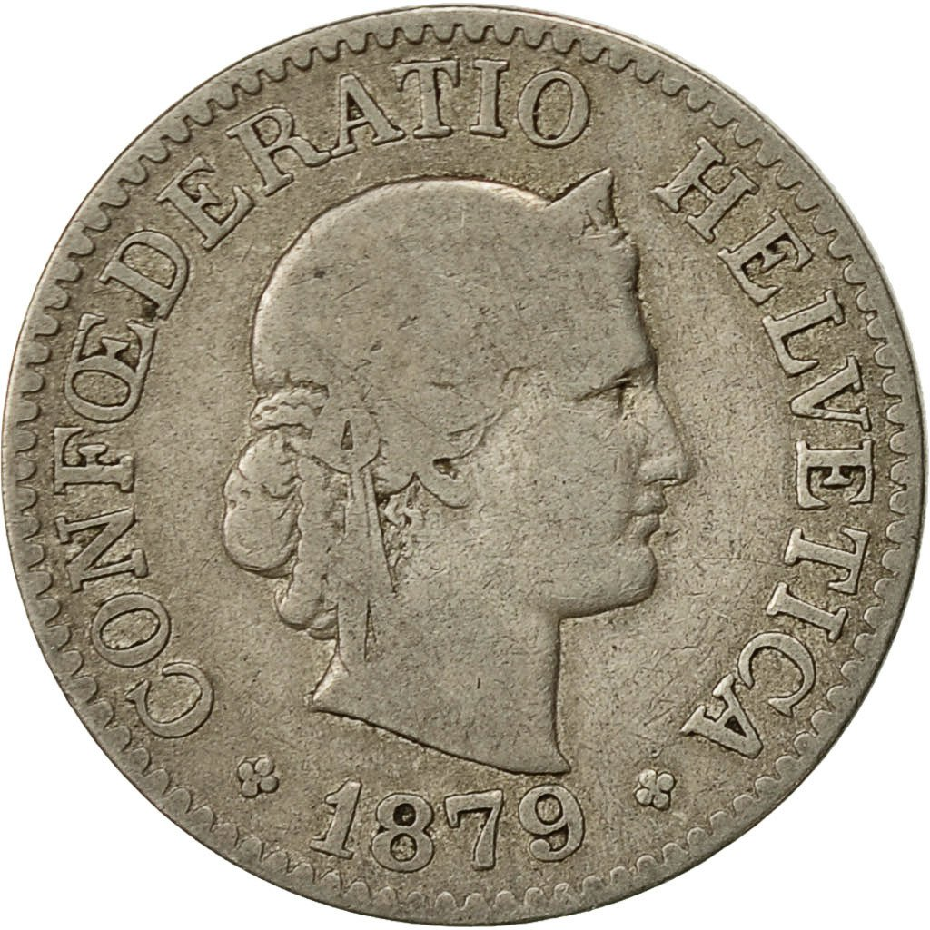Ten Centimes (Rappen) 1879: Photo Coin, Switzerland, 10 Rappen 1879