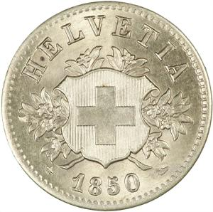 Switzerland / Twenty Centimes (Rappen) 1850 - obverse photo