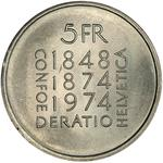 Switzerland / Five Francs 1974 Constitution Revision - reverse photo