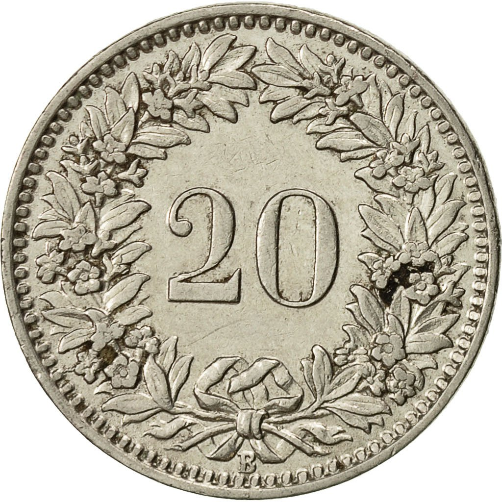 Twenty Centimes (Rappen) 1921: Photo Coin, Switzerland, 20 Rappen 1921