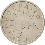 Switzerland / Five Francs 1975 Year of Historic Preservation - reverse photo