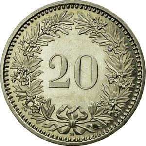 Switzerland / Twenty Centimes (Rappen) 2007 - reverse photo