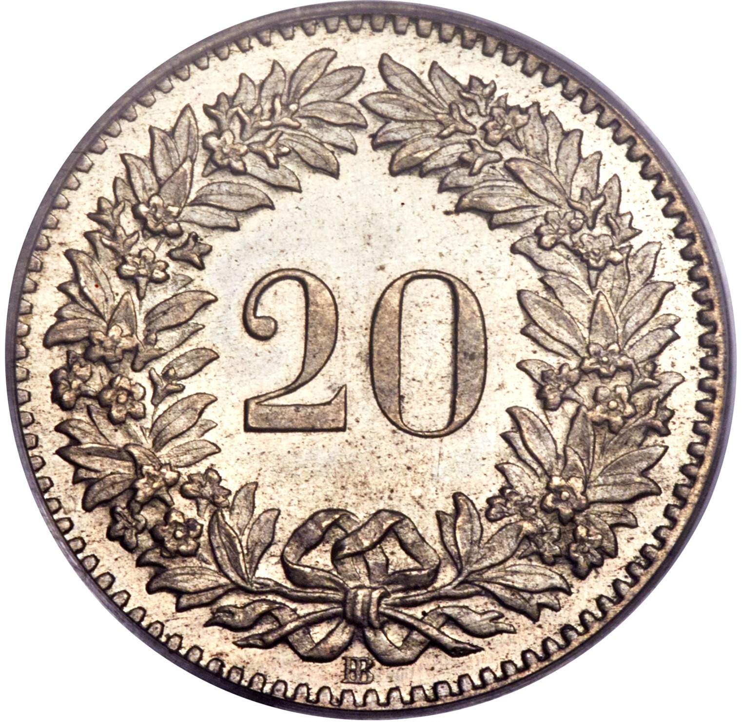 Twenty Centimes (Rappen) 1851: Photo Coin, Switzerland, 20 Rappen 1851