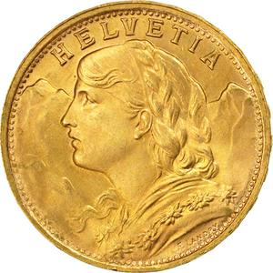 Switzerland / Twenty Francs, Gold - obverse photo
